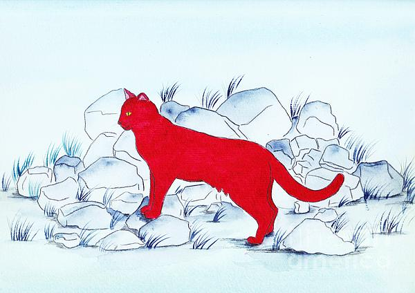 Red Cat Print by Michaela Bautz