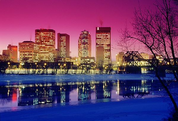 Red River And Downtown Winnipeg Print by Dave Reede
