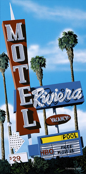 Riviera Motel Print by Anthony Ross