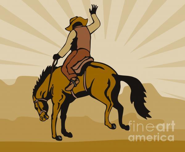 Rodeo Cowboy Bucking Bronco Print by Aloysius Patrimonio