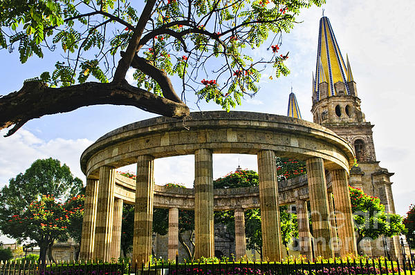Rotunda Of Illustrious Jalisciences And Guadalajara Cathedral Print by Elena Elisseeva