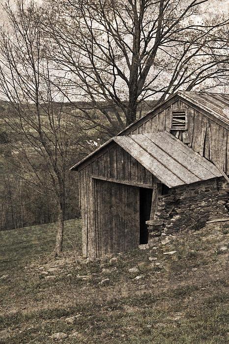 Rustic Hillside Barn Pasture Print by John Stephens