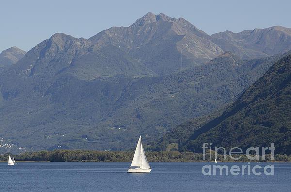 Sailing Boat And Mountain Print by Mats Silvan