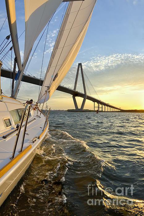 Sailing On The Charleston Harbor During Sunset Print by Dustin K Ryan