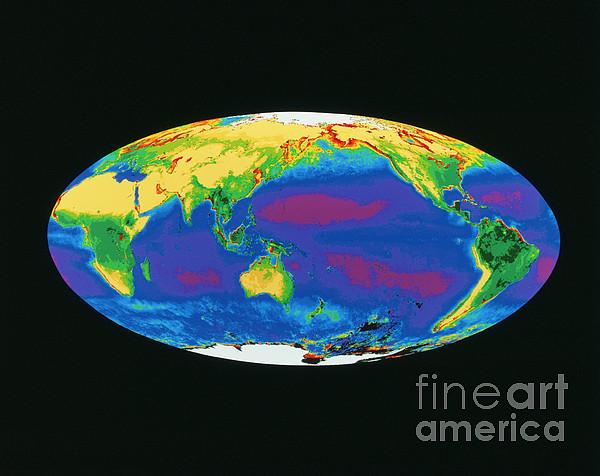Satellite Image Of The Earths Biosphere Print by Dr. Gene Feldman, NASA Goddard Space Flight Center