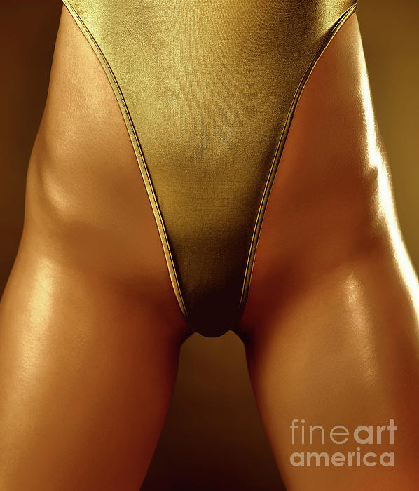 Sexy Covered With Gold Woman In High Cut Swimsuit Print by Oleksiy Maksymenko