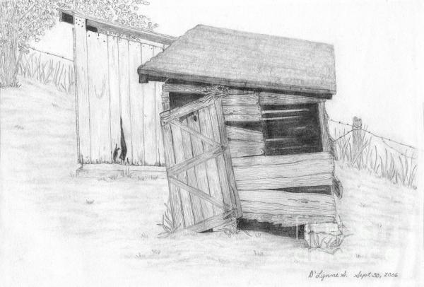 Shed And Wpa Outhouse On Johnson Farm Drawing  - Shed And Wpa Outhouse On Johnson Farm Fine Art Print
