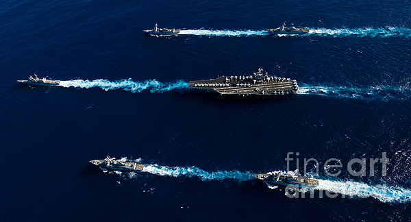 Ships From The John C. Stennis Carrier Print by Stocktrek Images