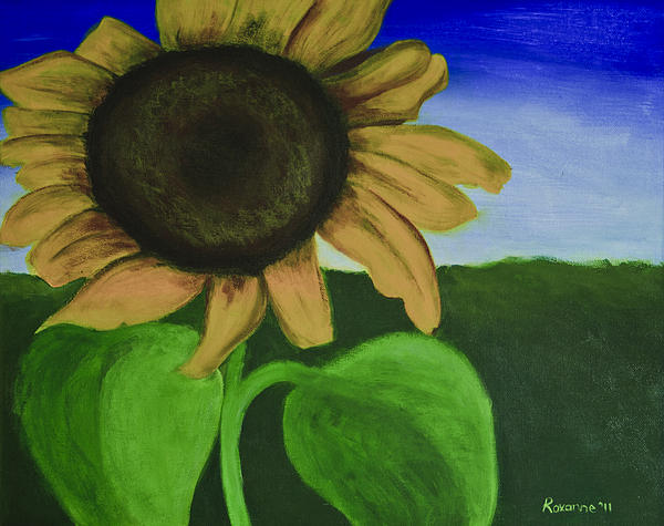 Solo Sunflower Print by Roxanne Weber
