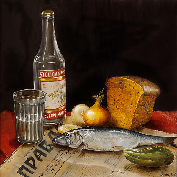 Still Life With Vodka And Herring Print by Roxana Paul