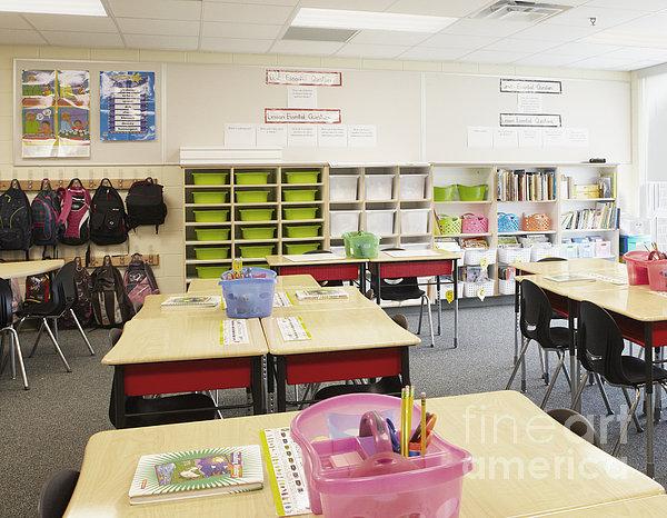 Student Desks In Classroom Print by Skip Nall