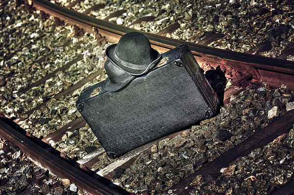 Suitcase And Hats Print by Joana Kruse