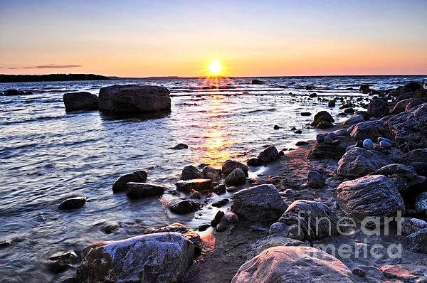 Sunset Over Water Print by Elena Elisseeva