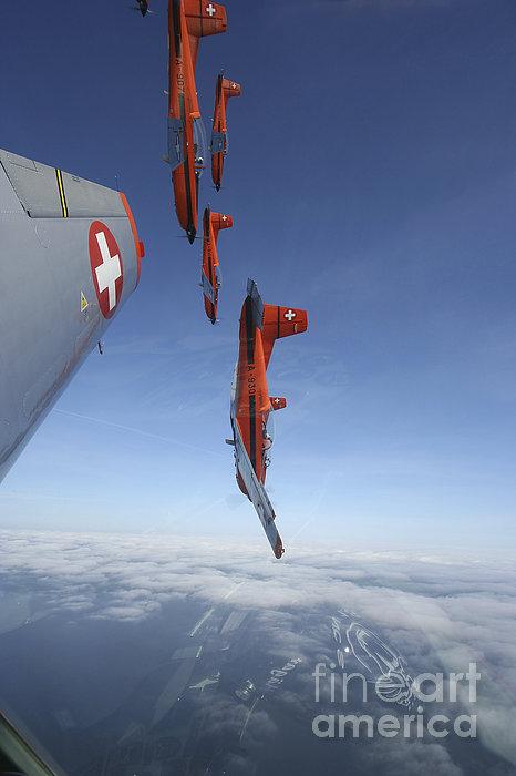 Swiss Air Force Display Team, Pc-7 Print by Daniel Karlsson