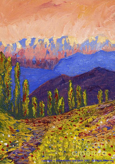 Swiss Alps Impasto Print by Edward McNaught-Davis