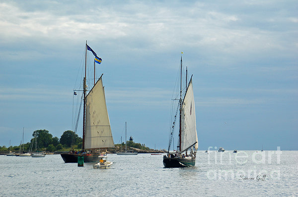 Tall Ships Sailing I Print by Suzanne Gaff