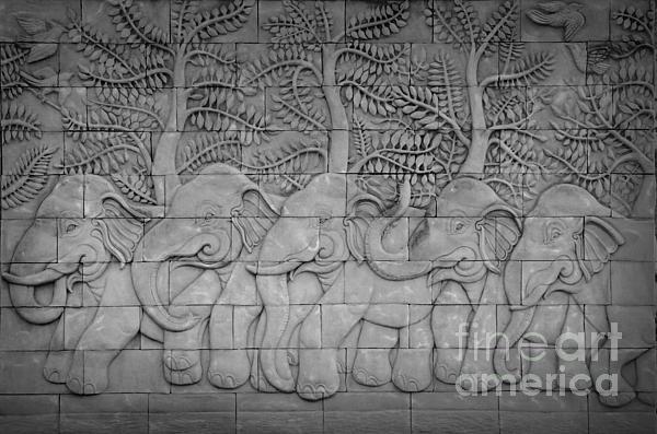 Thai Style Handcraft Of Elephant Print by Phalakon Jaisangat
