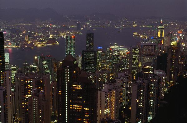 The Hong Kong Skyline Seen Print by Justin Guariglia
