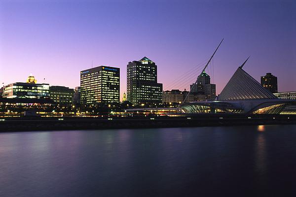 The Milwaukee Skyline At Twilight Print by Medford Taylor