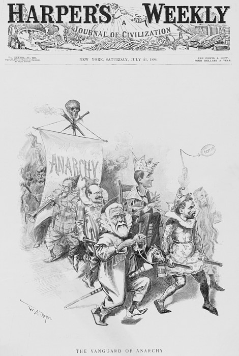 The Vanguard Of Anachy, Caricatures Print by Everett