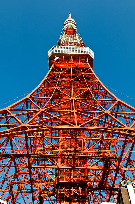 Tokyo Tower Faces Blue Sky Print by Ulrich Schade