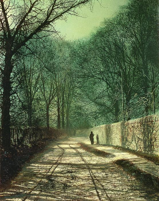 Tree Shadows In The Park Wall Print by John Atkinson Grimshaw
