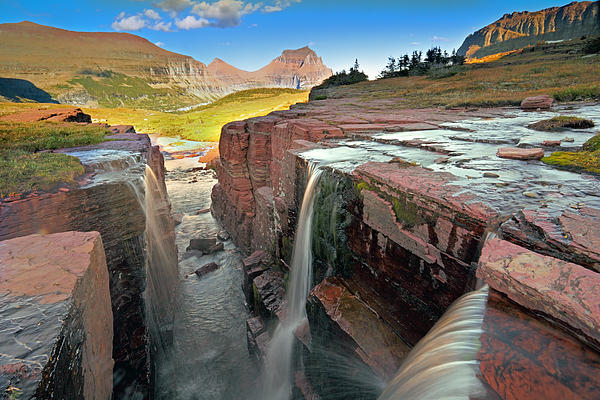 Triple Falls At Logan Pass By Rainer Grosskopf