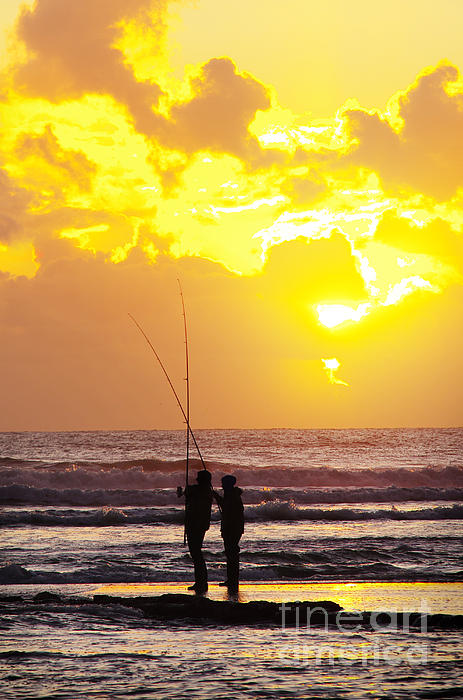 Two Fisherman Print by Carlos Caetano