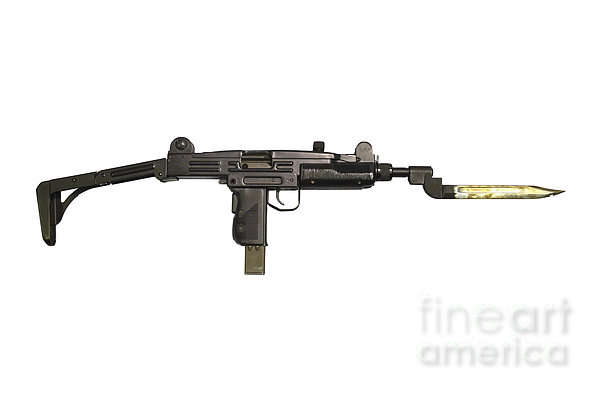 Uzi 9mm Submachine Gun With Attached Print by Andrew Chittock