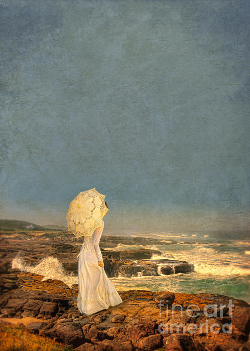 Victorian Lady By The Sea Print by Jill Battaglia