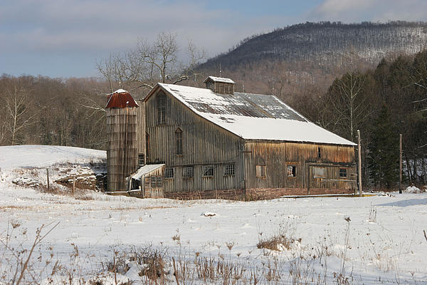 Vintage Weathered Wooden Barn Print by John Stephens