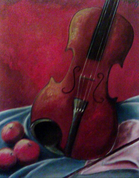 Violin With Apples Print by Melissa Cruz