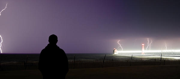 Watching A Lightning Storm Print by Jeramie Curtice