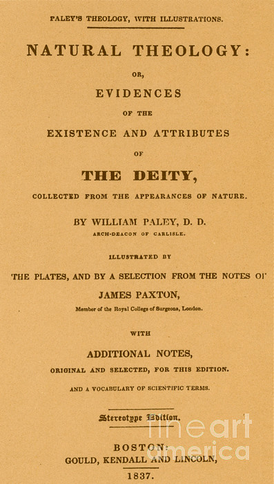 William Paleys, Natural Theology Print by Science Source