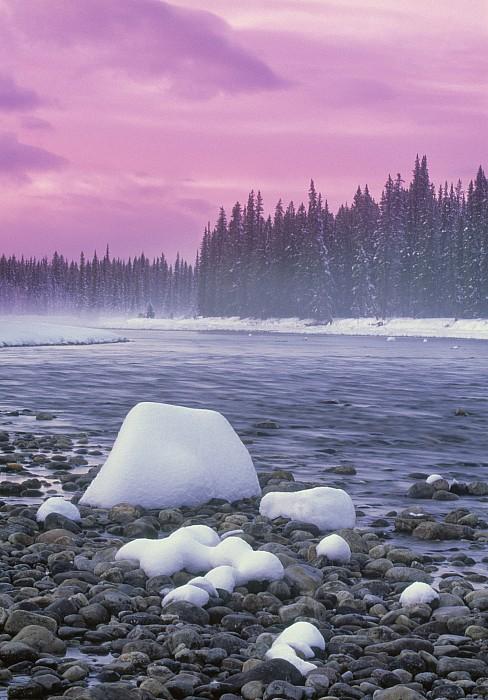 Winter Sunset On Bow River, Banff Print by Darwin Wiggett
