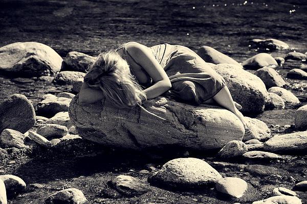 Woman In River Print by Joana Kruse