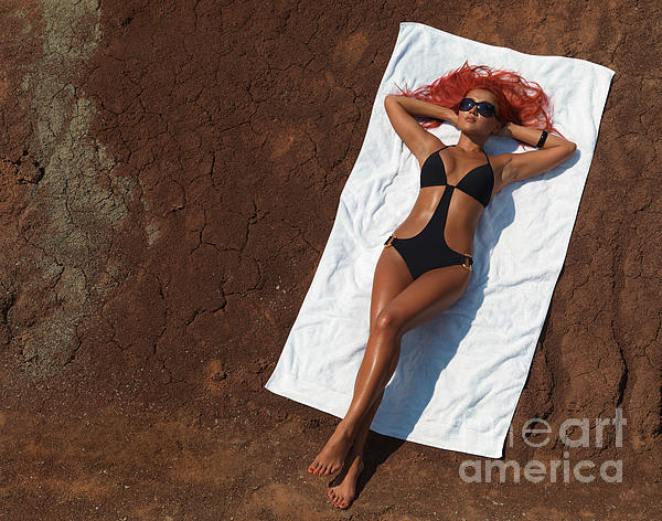 Woman Sunbathing Print by Oleksiy Maksymenko