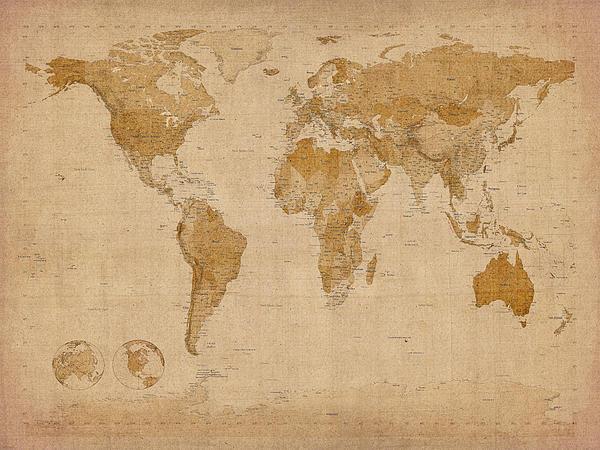 World Map Antique Style Print by Michael Tompsett
