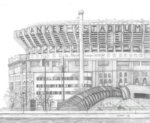 Yankee Stadium Drawing  - Yankee Stadium Fine Art Print
