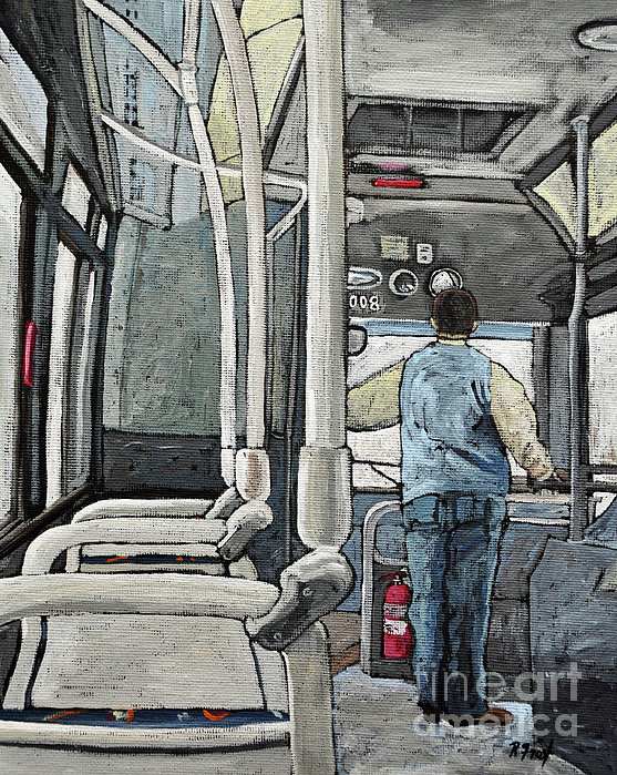 107 Bus On A Rainy Day Print by Reb Frost