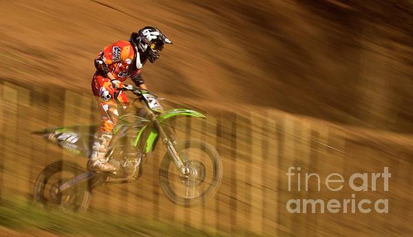 Motocross Print by Angel  Tarantella