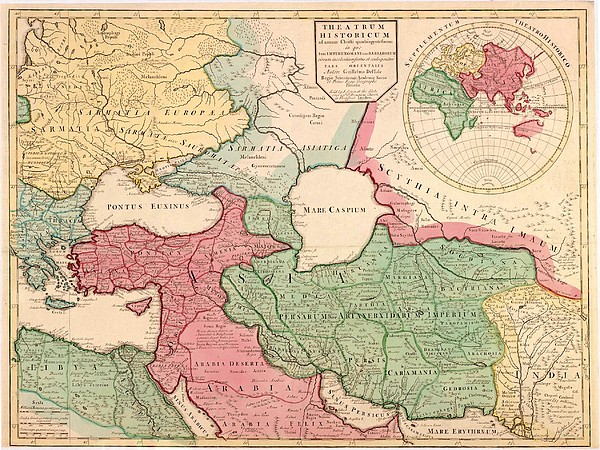 1712 French Map Of Southwest Asia Print by Everett