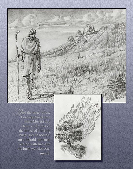 178 Moses And The Burning Bush Print by James Robinson