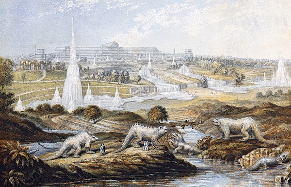 1854 Crystal Palace Dinosaurs By Baxter 1 Print by Paul D Stewart