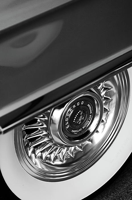 1956 Cadillac Eldorado Wheel Black And White Print by Jill Reger