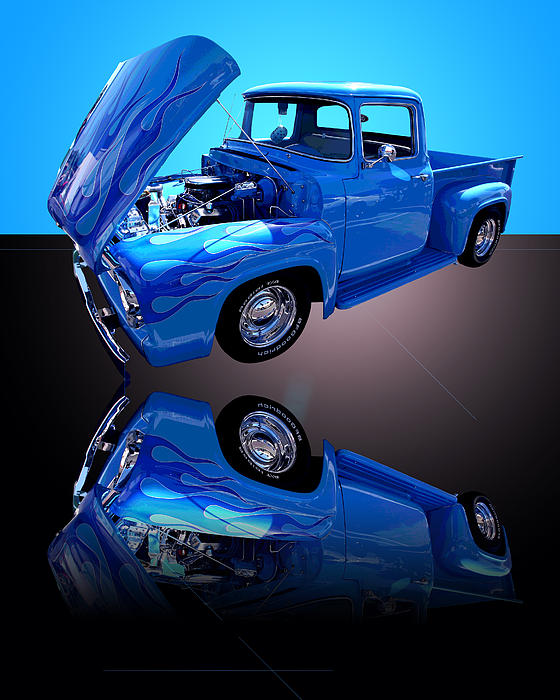 1956 Ford Blue Pick-up Print by Jim Carrell