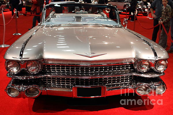 1959 Cadillac Convertible . Front View Print by Wingsdomain Art and Photography