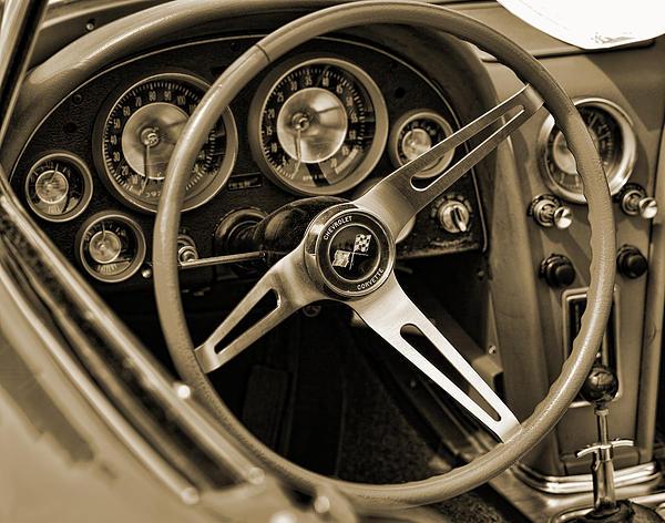 1963 Chevrolet Corvette Steering Wheel - Sepia Print by Gordon Dean II