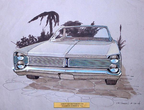 1967 Plymouth Fury  Vintage Styling Design Concept Rendering Sketch Print by John Samsen