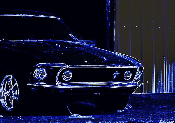 1969 Mustang In Neon Print by Susan Bordelon